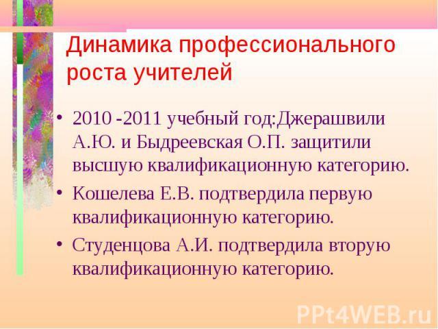 Динамика профессионального роста учителей 2010 -2011 учебный год:Джерашвили А.Ю. и Быдреевская О.П. защитили высшую квалификационную категорию.Кошелева Е.В. подтвердила первую квалификационную категорию.Студенцова А.И. подтвердила вторую квалификаци…