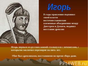 ИгорьВ годы правления подчинил своей власти восточнославянские племенные объедин