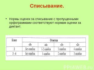 Списывание. Нормы оценок за списывание с пропущенными орфограммами соответствуют