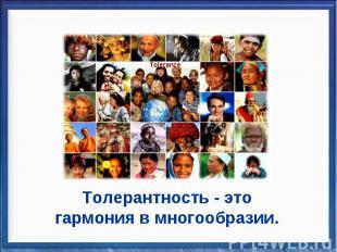 Толерантность - это гармония в многообразии.