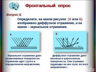 Фронтальный опрос Определите, на каком рисунке (А или Б) изображено диффузное от