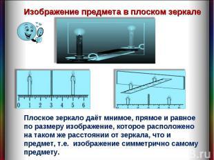 Изображение предмета в плоском зеркале Плоское зеркало даёт мнимое, прямое и рав