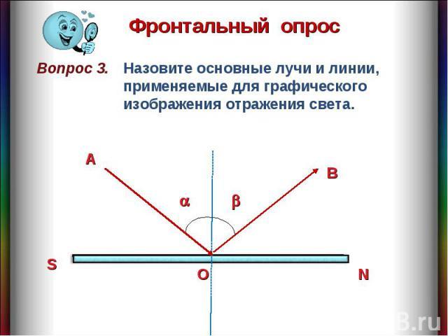 Фронтальный опрос Назовите основные лучи и линии, применяемые для графического изображения отражения света.