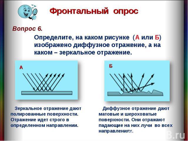 Фронтальный опрос Определите, на каком рисунке (А или Б) изображено диффузное отражение, а на каком – зеркальное отражение. Зеркальное отражение дают полированные поверхности. Отражение идет строго в определенном направлении. Диффузное отражение даю…