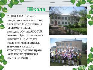Школа С 1896-1897 г. Начала создаваться земская школа, в ней было 102 ученика. В