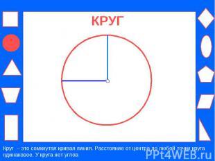 КРУГ Круг – это сомкнутая кривая линия. Расстояние от центра до любой точки круг