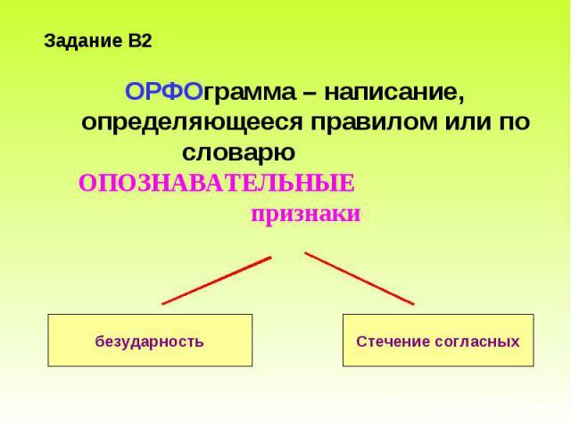 ОРФОграмма – написание, определяющееся правилом или по словарю ОПОЗНАВАТЕЛЬНЫЕ признаки