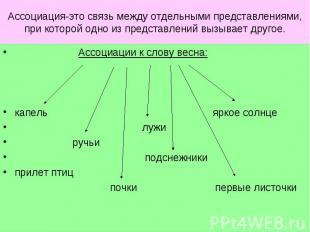 Ассоциация-это связь между отдельными представлениями, при которой одно из предс