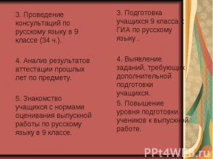 3. Проведение консультаций по русскому языку в 9 классе (34 ч.). 4. Анализ резул