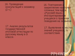 16. Проведение консультаций к экзамену (2 ч.) 17. Анализ результатов государстве