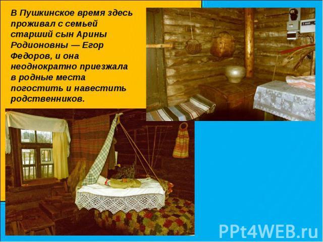 В Пушкинское время здесь проживал с семьей старший сын Арины Родионовны — Егор Федоров, и она неоднократно приезжала в родные места погостить и навестить родственников.