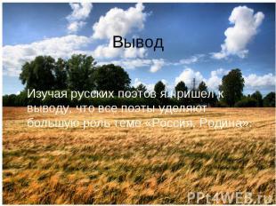 Вывод Изучая русских поэтов я пришел к выводу, что все поэты уделяют большую рол