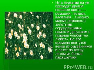 Ну а первыми на ум приходят другие полевые цветы — ромашки, лютики, васильки...