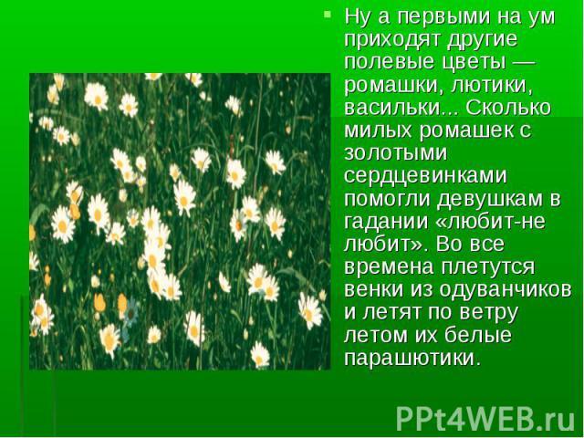 Ну а первыми на ум приходят другие полевые цветы — ромашки, лютики, васильки... Сколько милых ромашек с золотыми сердцевинками помогли девушкам в гадании «любит-не любит». Во все времена плетутся венки из одуванчиков и летят по ветру летом их белые …