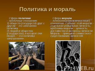 Политика и мораль Сфера политики –публичныеотношения:1) обществ (государств) д