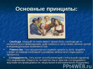 Основные принципы: Свобода. Каждый человек имеет право быть свободным от политич