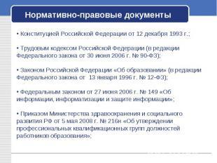 Нормативно-правовые документы Конституцией Российской Федерации от 12 декабря 19