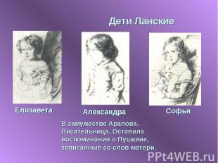 Дети Ланские В замужестве Арапова. Писательница. Оставила воспоминания о Пушкине