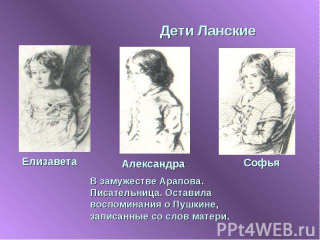Дети Ланские В замужестве Арапова. Писательница. Оставила воспоминания о Пушкине, записанные со слов матери.