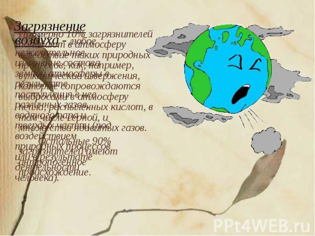 Примерно 10% загрязнителей попадают в атмосферу вследствие таких природных процессов, как, например, вулканические извержения, которые сопровождаются выбросами в атмосферу пепла, распыленных кислот, в том числе серной, и множества ядовитых газов. Ос…
