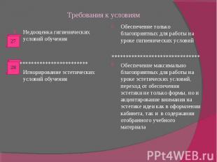 Требования к условиям Недооценка гигиенических условий обучения*****************