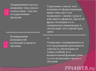 Традиционный подход к называнию темы урока в соответствии с текстом государствен