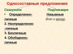 Односоставные предложения Сказуемое ПодлежащееОпределенно- Назывныеличные Вот и