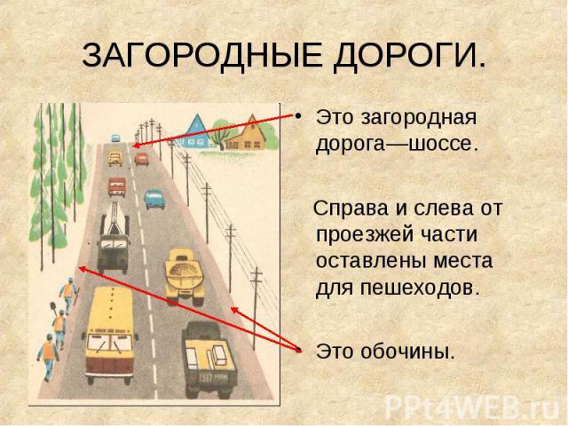 Это загородная дорога—шоссе. Это загородная дорога—шоссе. Справа и слева от проезжей части оставлены места для пешеходов. Это обочины.