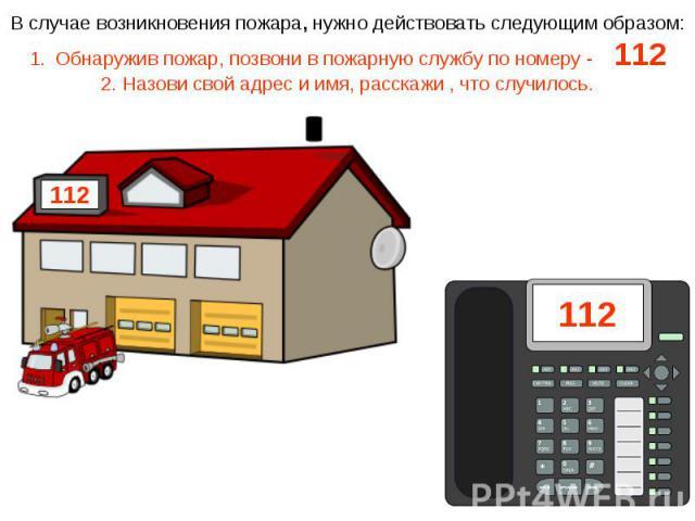В случае возникновения пожара, нужно действовать следующим образом:Обнаружив пожар, позвони в пожарную службу по номеру - 1122. Назови свой адрес и имя, расскажи , что случилось.
