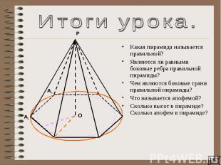 Итоги урока.Какая пирамида называется правильной? Являются ли равными боковые ре
