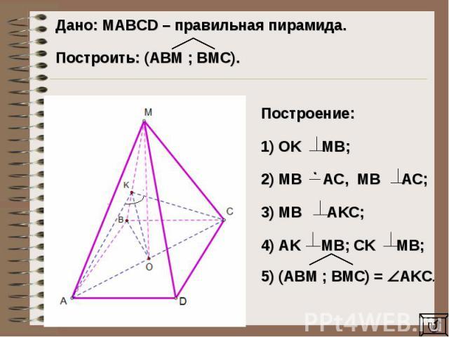 Дано: MAВCD – правильная пирамида. Построить: (AВM ; BМC).Построение: 1) OK MB;2) MB AC, MB AC;3) MB AKC;4) AK MB; CK MB;5) (ABM ; BMC) = AKC.