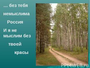 … без тебянемыслима РоссияИ я не мыслим без твоей красы