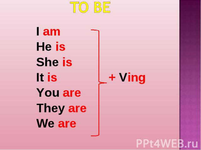 TO BE I am He is She is It is + Ving You are They are We are