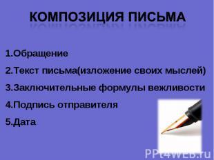Композиция письма ОбращениеТекст письма(изложение своих мыслей)Заключительные фо