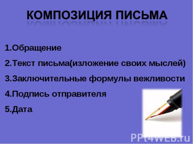 Композиция письма ОбращениеТекст письма(изложение своих мыслей)Заключительные формулы вежливостиПодпись отправителяДата