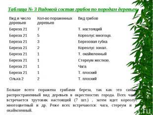 Таблица № 3 Видовой состав грибов по породам деревьев Больше всего поражена гриб