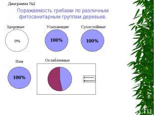 Поражаемость грибами по различным фитосанитарным группам деревьев.