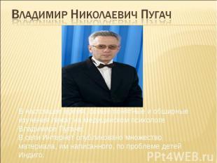 Владимир Николаевич Пугач В настоящее время, самые понятные и обширные изучения