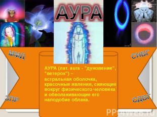 """АУРА АУРА (лат. aura - """"дуновение"""", """"ветерок"""") – астральная оболочка, красочные"""