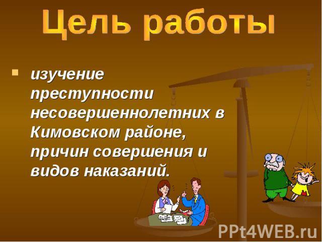 Цель работы изучение преступности несовершеннолетних в Кимовском районе, причин совершения и видов наказаний.