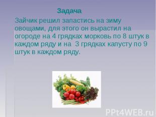 Задача Зайчик решил запастись на зиму овощами, для этого он вырастил на огороде