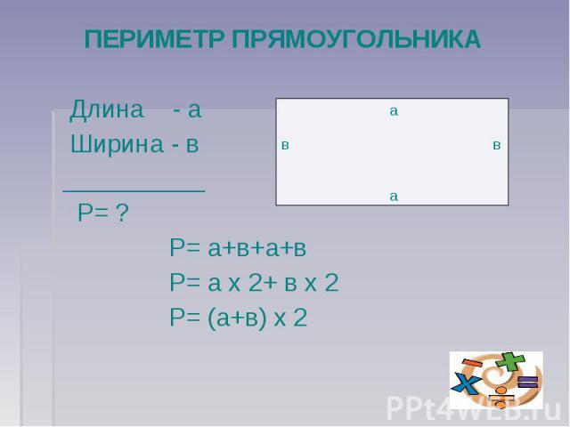 ПЕРИМЕТР ПРЯМОУГОЛЬНИКА Длина - а Ширина - в __________ Р= ? Р= а+в+а+в Р= а х 2+ в х 2 Р= (а+в) х 2