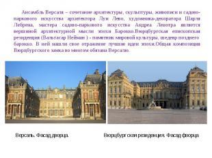 Ансамбль Версаля – сочетание архитектуры, скульптуры, живописи и садово-парковог