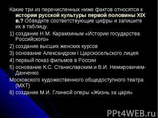 Какие три из перечисленных ниже фактов относятся к истории русской культуры перв