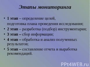 Этапы мониторинга 1 этап – определение целей,подготовка плана проведения исследо
