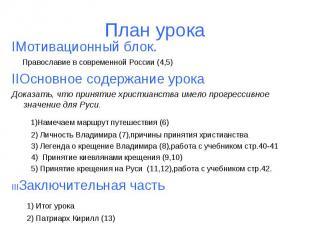 План урока IМотивационный блок. Православие в современной России (4,5) IIОсновно
