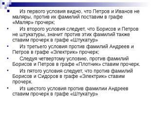 Из первого условия видно, что Петров и Иванов не маляры, против их фамилий поста