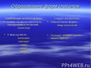 Образование форм глаголов Ошибочными являются формы:1 лицо, ед.число глаголов на