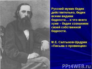 Русский мужик беден действительно, беден всеми видами бедности… и что всего хуже