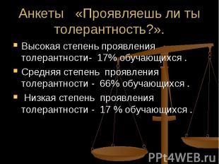 Анкеты «Проявляешь ли ты толерантность?». Высокая степень проявления толерантнос